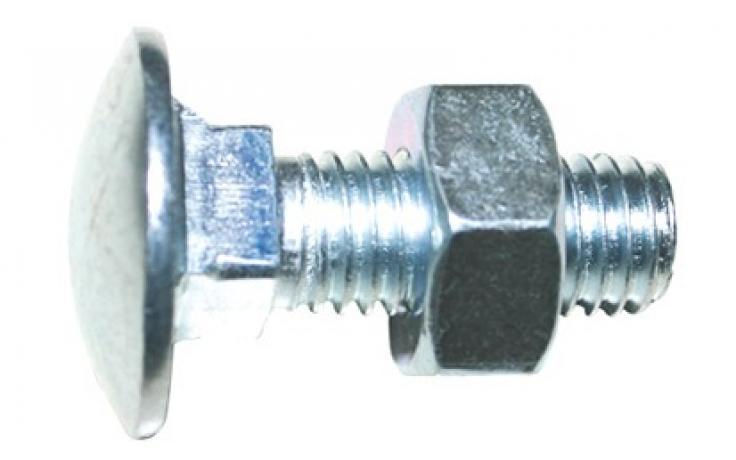 DIN 603, z nakrętką, KL 4.8, ocynk