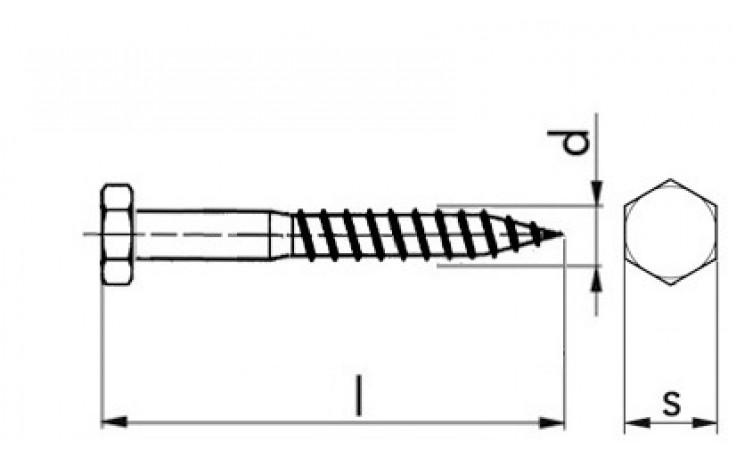 Sicherheitsschraube für Fassadendübel 7x85 mm, Sechskantkopf, Stahl weiß verzinkt