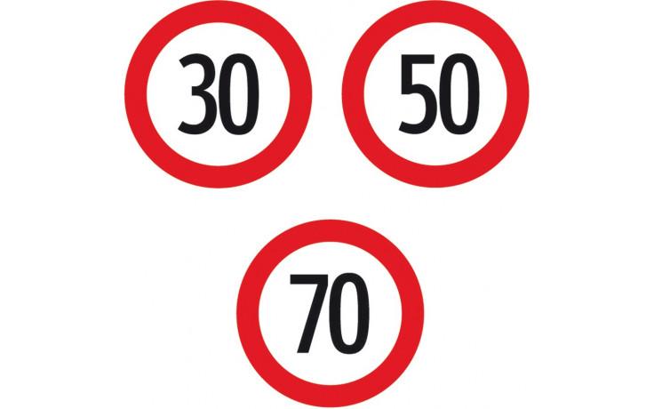 """Baustellenverkehrszeichen § 52/10a Geschwindikeitsbeschränkung """"50"""" 480 x 1,5 mm"""