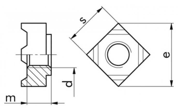 Schweißmutter DIN 928 - Stahl - blank - M5