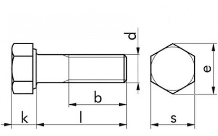 Sechskantschraube ISO 4014 - 8.8 - verzinkt blau - M10 X 75