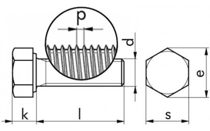 Sechskantschraube DIN 961 - 8.8 - verzinkt gelb - M10 X 1 X 30