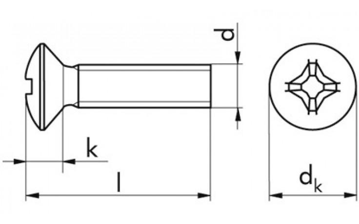 Gewindeschraube m.Linsensenkkopf u. Kreuzschlitz M4x8 DIN 966 Stahl rostfrei A2