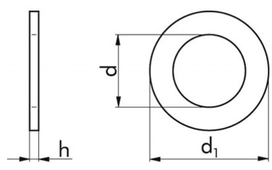 Scheiben für Zylinderschrauben M14 = 16 mm DIN 433 Edelstahl rostfrei A2 140 HV