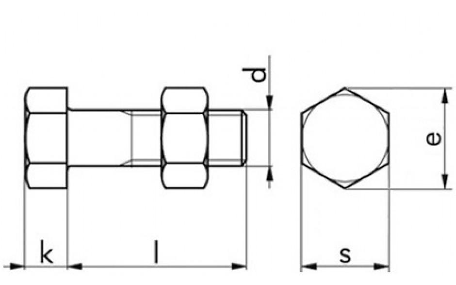 Sechskantschraube mit Mutter DIN 601 - 4.6 - feuerverzinkt - M12 X 80