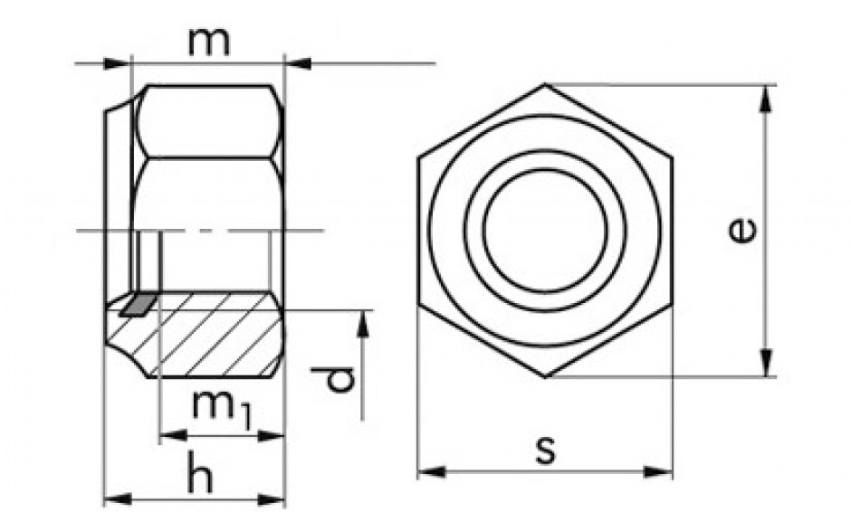 Sicherheitsmuttern mit Polyesterring M16 x 1,5 DIN 985 FKL 8 Stahl gelb verzinkt