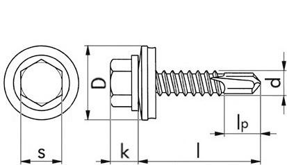 RECA Selbstbohrschrb.m.6-kant-Kopf+Dichtscheibe16 mm 4,8x25 DIN7504K rostf.A2