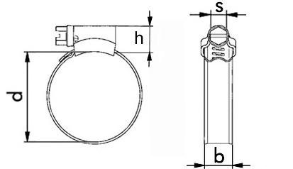 Schlauchschelle 80-100 mm Bandbreite 12 mm leichte Ausführ. Edelstahl rostfr. A4