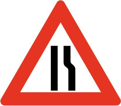 Baustellenverkehrszeichen § 50/8c Strassenenge rechts 700 x 1,5 mm