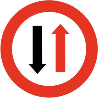 Baustellenverkehrszeichen § 52/5 Wartepflich bei Gegenverkehr 480 x 1,5 mm