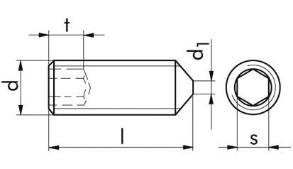 Gewindestifte mit Spitze DIN 914 / ISO 4027 Edelstahl A4-21H M 4 x 30 mm