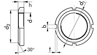 Wellenmuttern M135 x 2 DIN 981 Stahl blank
